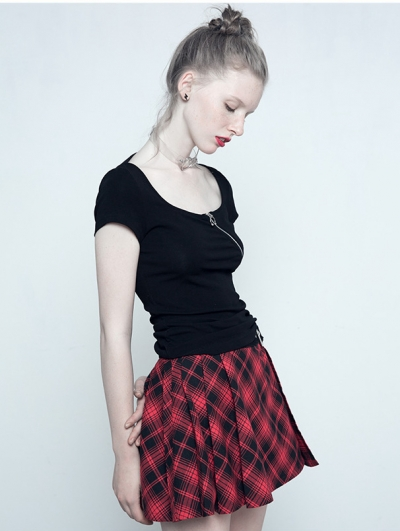 Gothic Punk Red Plaid Mini Skirt for Women