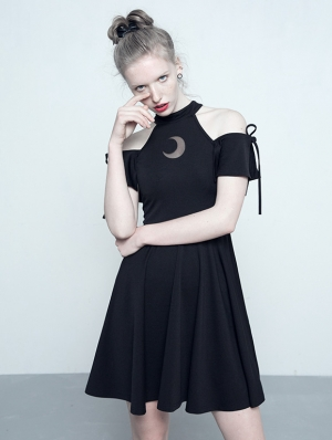 Black Gothic Off-the-Shoulder Moon Pattern Dress