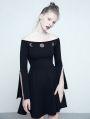 Black Gothic Off-the-Shoulder Dress with Earth and Moon Pattern