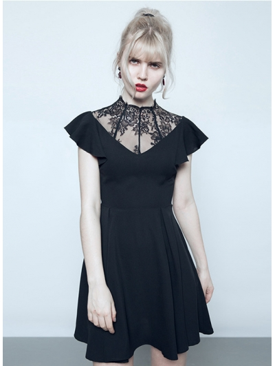 Black Summer Gothic Short Dress with Lace Collar