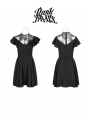 Black/White Summer Gothic Short Dress with Lace Collar