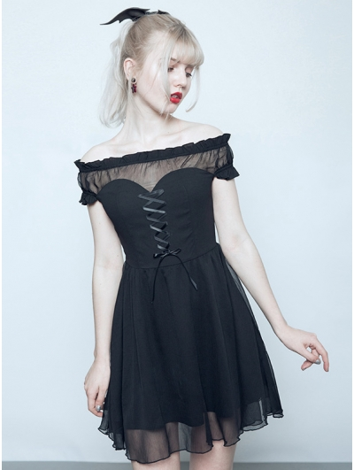 Black Gothic Off-the-Shoulder Sweet Short Dress