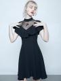 Black Summer Gothic Short Lotus Leaf Dress