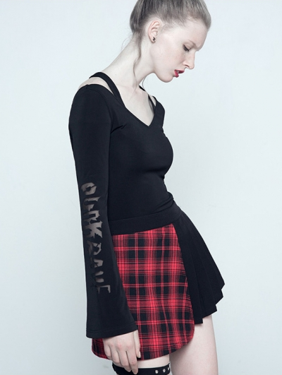 Black Gothic Long Sleeves Pierced Letters Shirt for Women