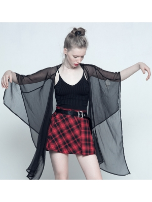 Black Simple Chiffon Gothic Summer Cape for Women