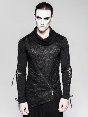 Gothic Dark Decadent Asymmetric Hem T-Shirt for Men