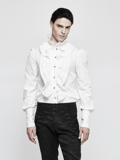 White Ruffles Gothic Blouse for Men