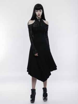 Gothic Dark Lace Spliced Off-the-Shoulder Dress