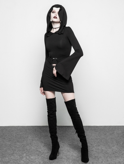 Black Gothic Witch Belt Short Hooded Dress