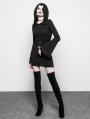 Black Gothic Witch Belt Short Hooded Dress