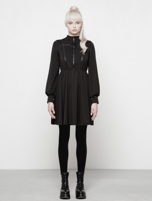 Black Gothic Dark Girls High-Collar Dress