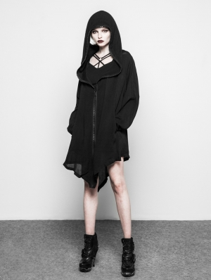 Black Gothic Dark Coat with Big Hood for Women
