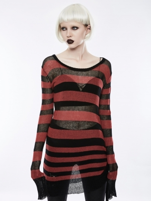 Black and Red Light Loose Broken-hole Sweater for Women