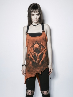 Gothic Punk Irregular Demon Bone Print Vest Top for Women