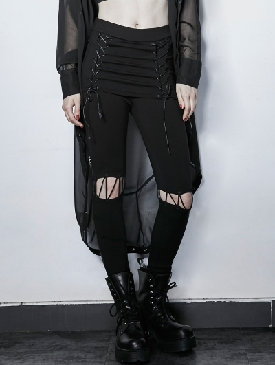 Gothic Punk Black Fake Two Pieces Lace-up Wild Pants for Women