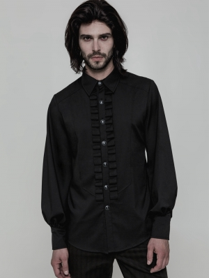 Black Gothic Uniform Long Sleeve Shirt for Men