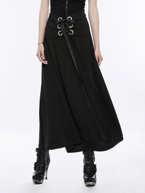 Black Gothic Punk Corns Tie Wraps Chiffon Half Skirt