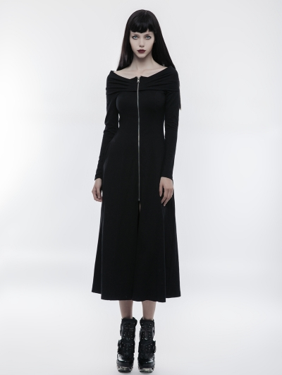 Black Gothic Slim Off-the-Shoulder Zipper Long Dress