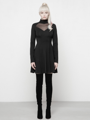 Black Gothic Diablo Series Hollow-out High-Collar Dress