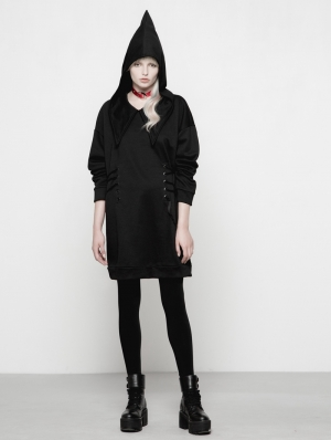 Black Gothic Punk Thickened Hoodie Dress