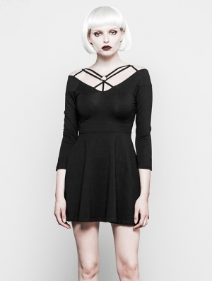 Black Gothic Straps Short dress