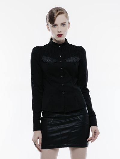 Black Long Sleeves Handsome Gothic Punk Shirt for Women