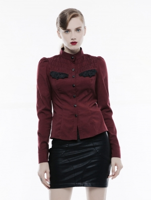 Red Long Sleeves Handsome Gothic Punk Shirt for Women