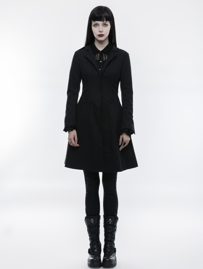Black Simple Gothic Punk Casual Jacket for Women