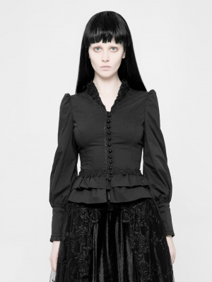 Black Gothic Palace Style Long Sleeves Shirt for Women