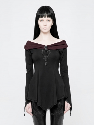 Black Gothic Off-the-Shoulder Asymmetric T-Shirt for Women