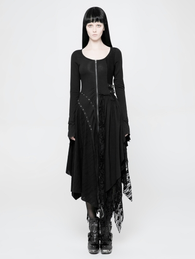 Black Gothic Punk Knitted Decadent Asymmetric Dress