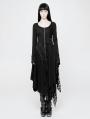 Black Gothic Punk Knitted Decadent Asymmetric Dress
