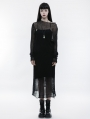 Black Gothic Transparent Long Dress Sweater for Women