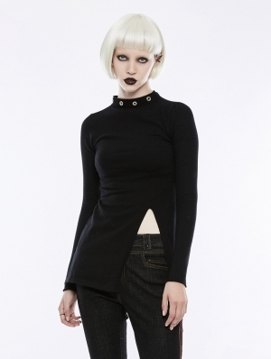Black Gothic Diablo Split Stand Collar Sweater