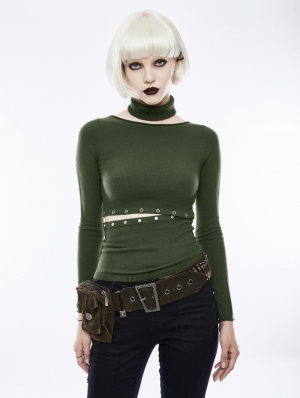 Green Daily Gothic Punk Split Sweater for Women