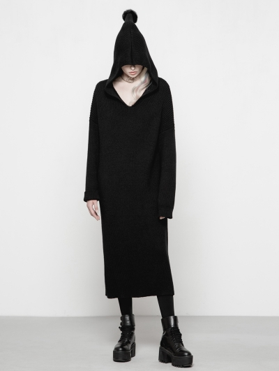 Black Gothic Loose Hooded Woolen Dress