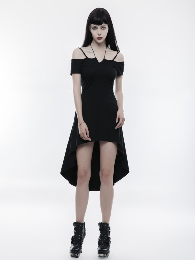 Black Gothic Strapless Slim Dress with Rope Necklace
