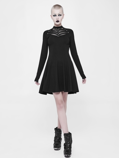 Black Gothic Punk Daily Belt Short Dress