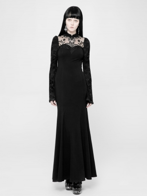 Black Romantic Gothic Lace Knitted Long Dress