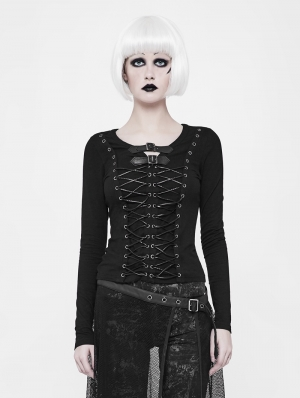 Black Gothic Punk Front Strap T-Shirt for Women