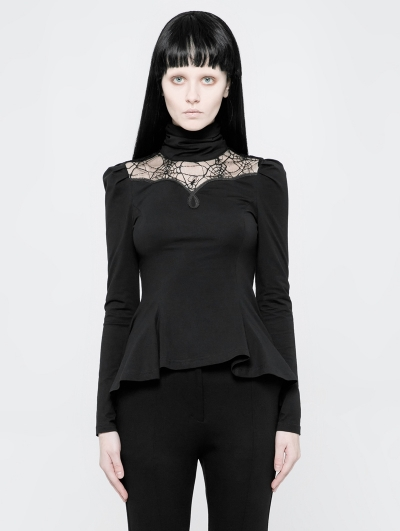 Black Gothic Daily Spider Web Long Sleeve T-Shirt for Women