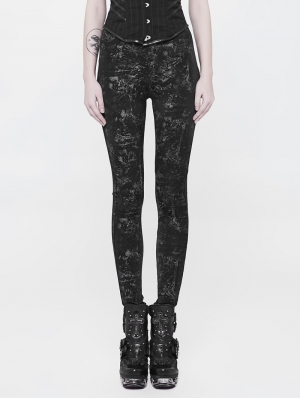 Black Gothic Punk Printing Leggings Pants for Women