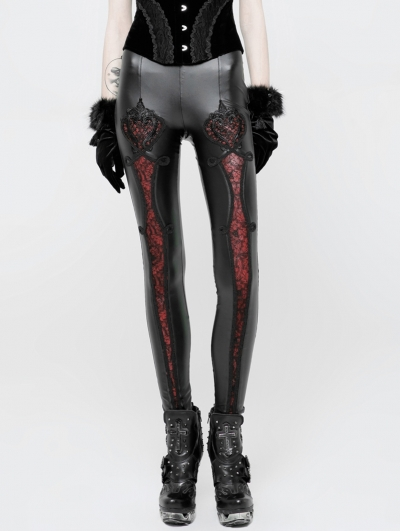 Black and Red Gothic PU Love Floral Leggings for Women