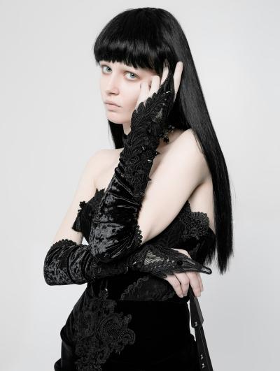 Gothic Sharp Rivets Medium Long Gloves