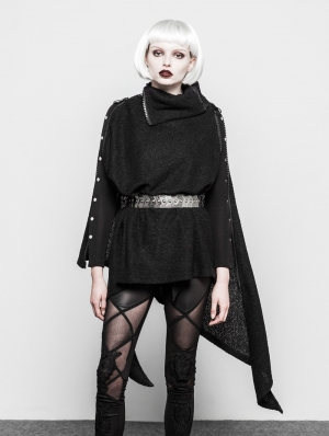 Black Gothic Asymmetrica Zipper Cloak Coat for Women
