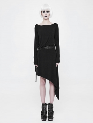 Black Gothic Punk Daily Belt Asymmetrica Dress