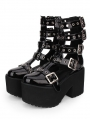 Black Gothic Punk Rivet Buckle Belt Platform Sandals