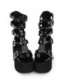 Black Gothic Punk Rivet Buckle Belt Platform Sandals