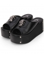 Black Gothic Punk Skull Platform Slippers Sandals