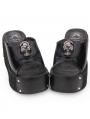 Black Gothic Punk Skull Platform Slippers Sandals